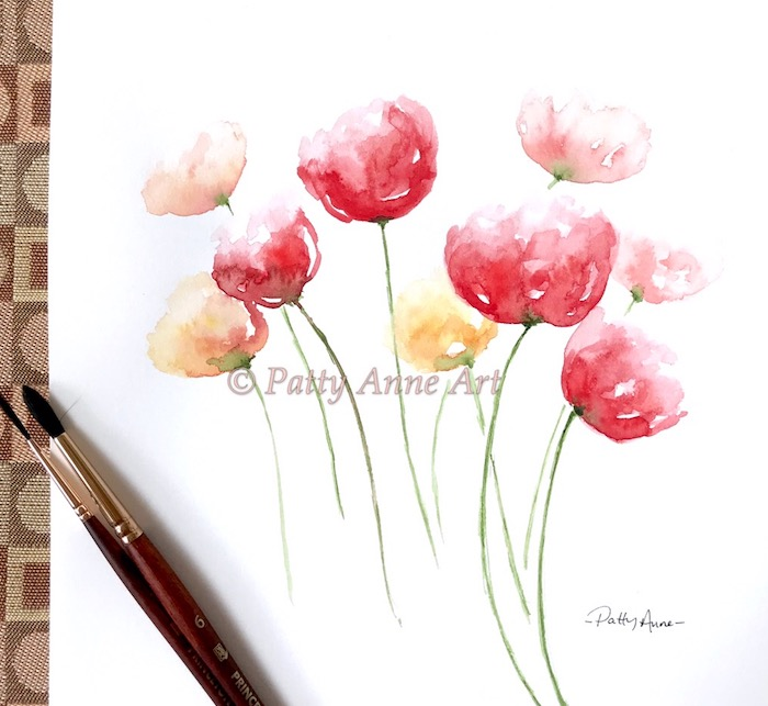 soft loose poppies watercolor