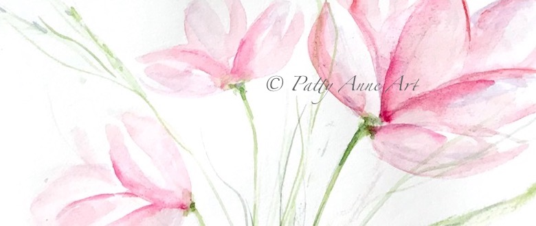 Delicate pink watercolor flowers