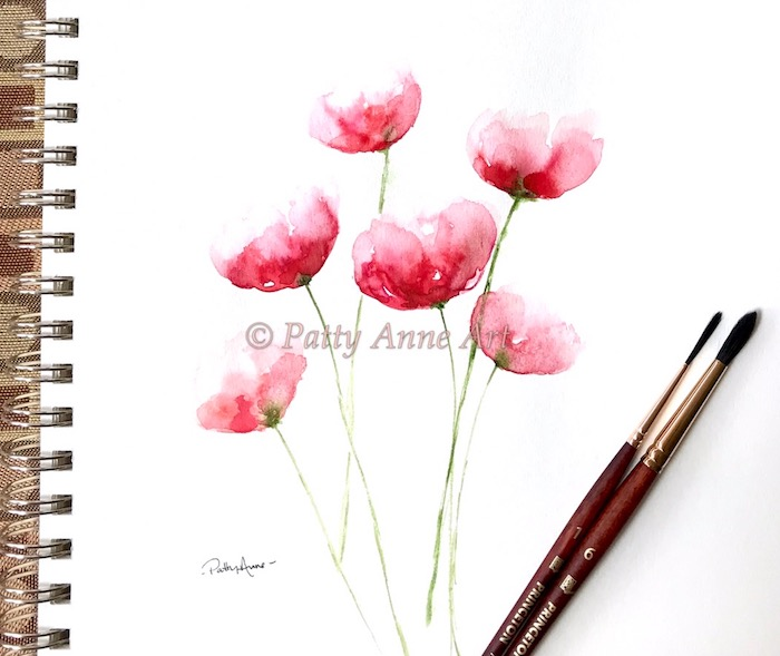 soft loose poppies - watercolor painting
