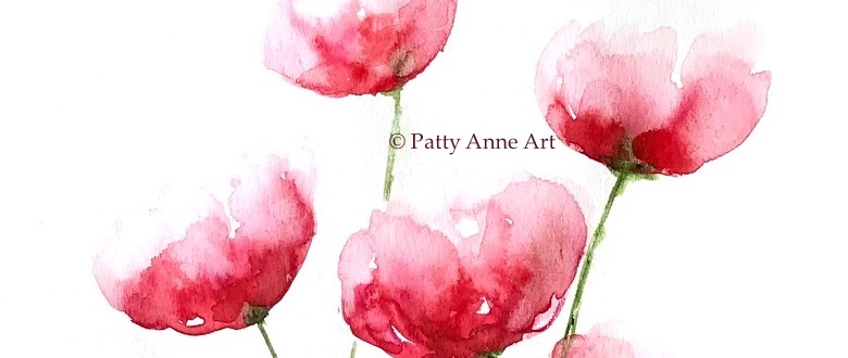 soft loose poppies watercolor painting