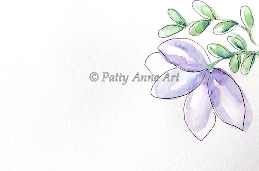 purple patty flowers - watercolor and ink sketch