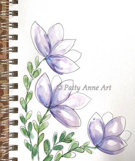 purple patty flowers watercolor and ink sketch