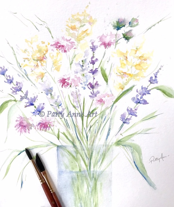 wildflower watercolor painting