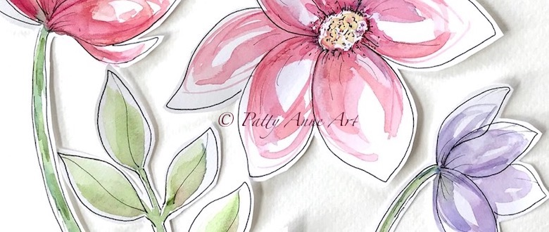 Watercolor floral cut outs