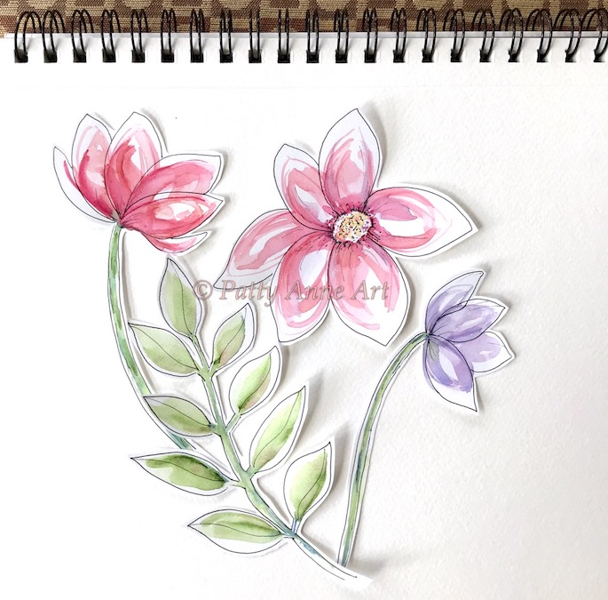 watercolor flowers and leaves cut out