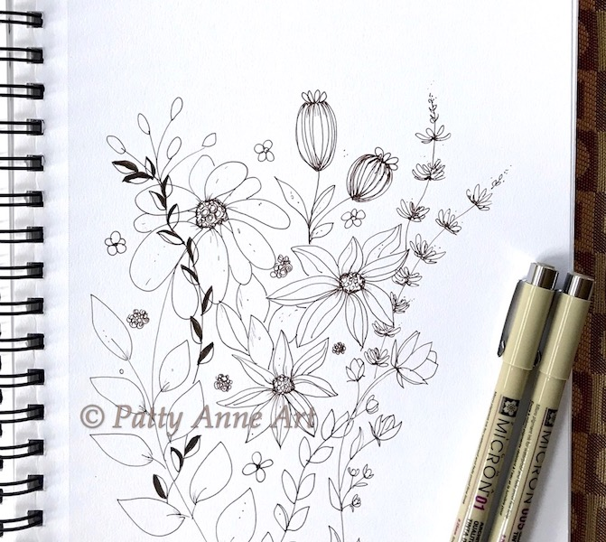 floral fun ink sketch