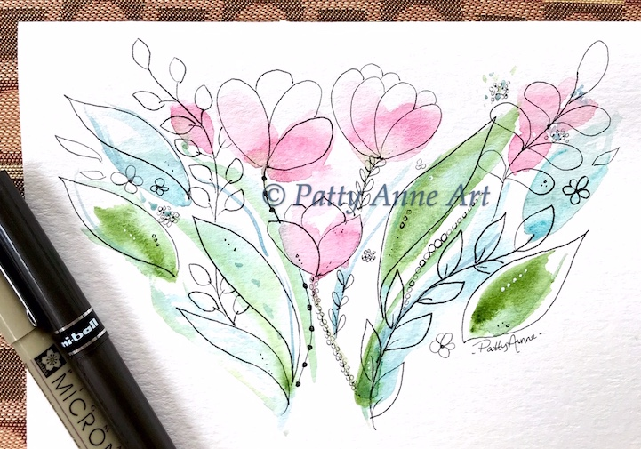 watercolor and ink botanical card