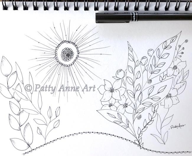 playful floral ink sketching