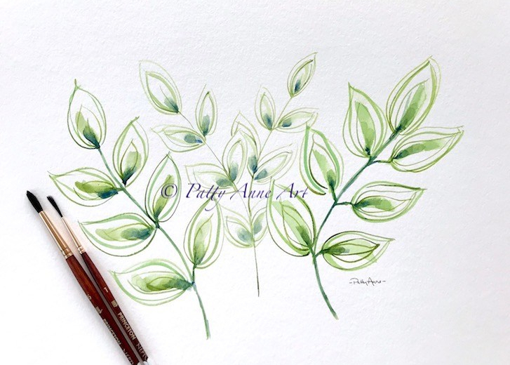 watercolor leaves practice