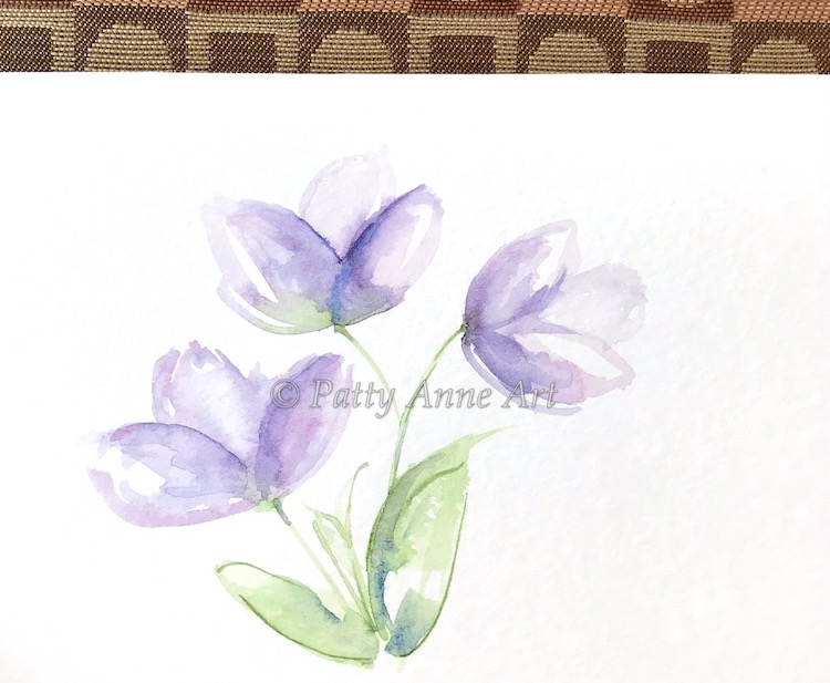 purple watercolor flowers painted card