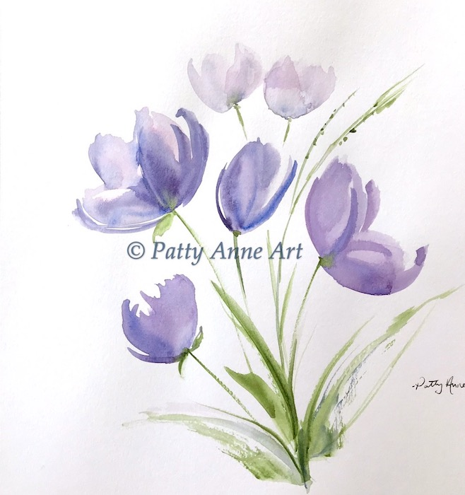 Purple flowers - watercolor painting