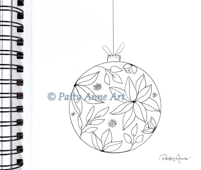 christmas ornament ink sketch