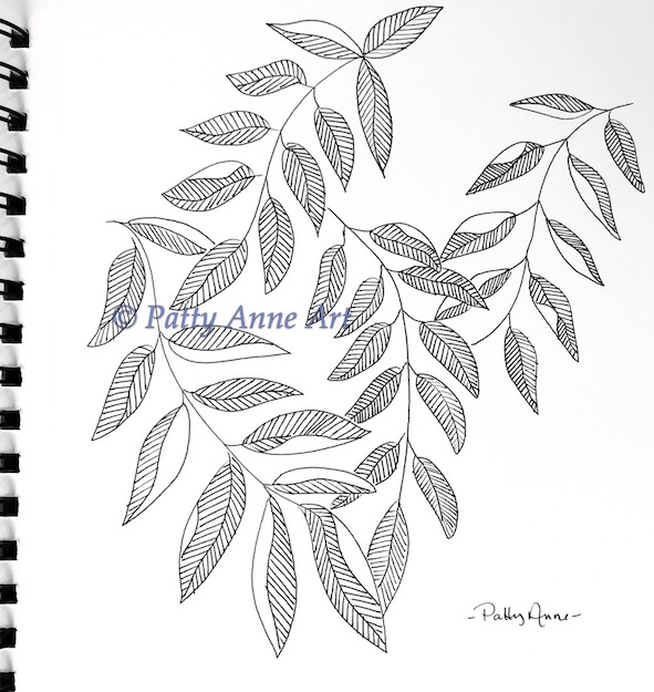 ink sketch leaf patterns