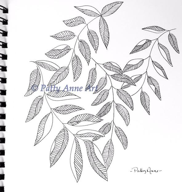 ink sketch leaf patterns