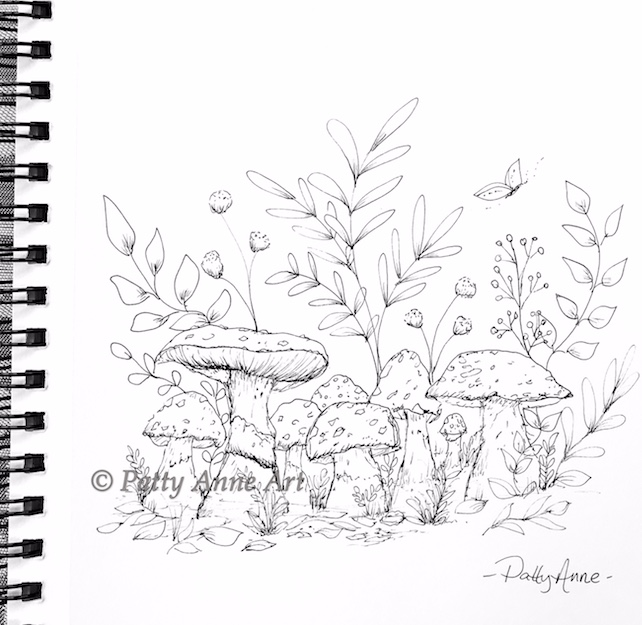 little mushroom ink sketch