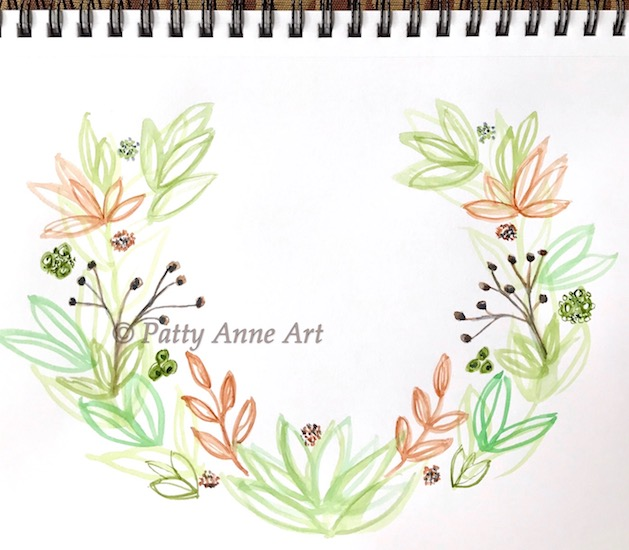 welcome wreath - watercolor under painting