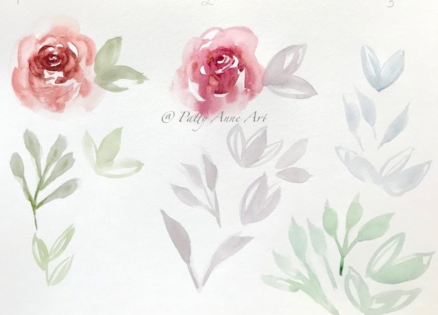 practice watercolor roses and leaves