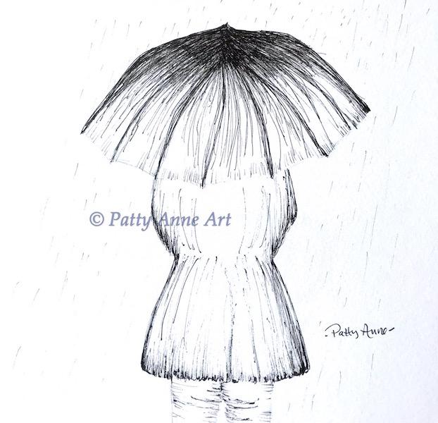 rainy day ink sketch