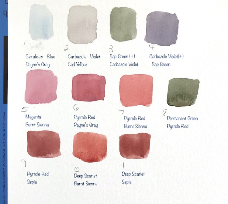 sample watercolor mixes