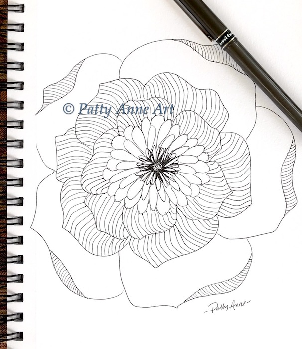 Simple Flower Doodle ink sketch