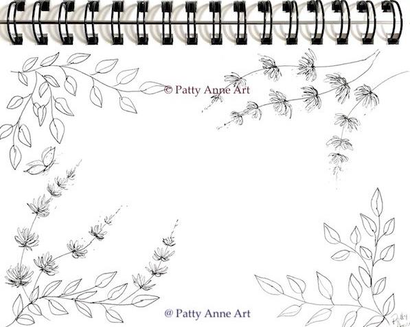 ink floral frame