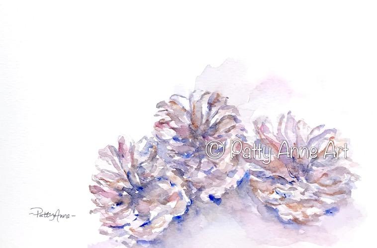 watercolor pinecones