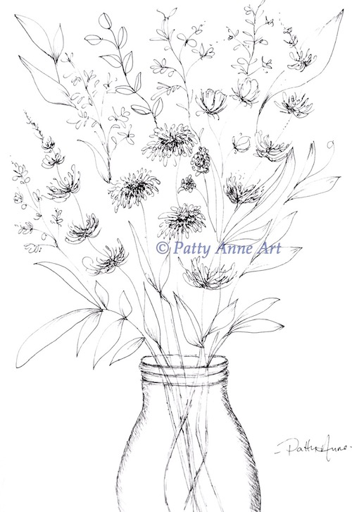 Wildflowers in ink