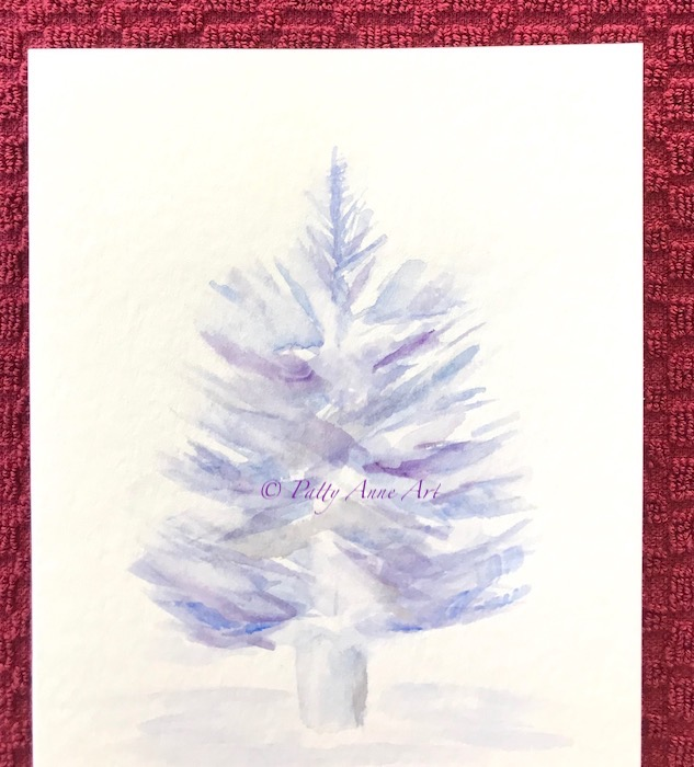 Christmas tree watercolor before sparkle added