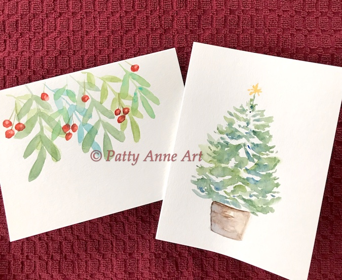 painted cards for christmas