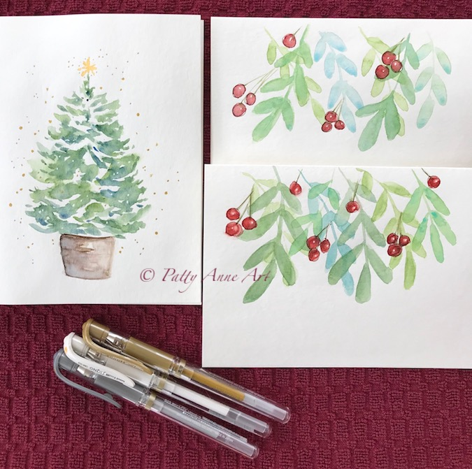 painted cards with little ink touches