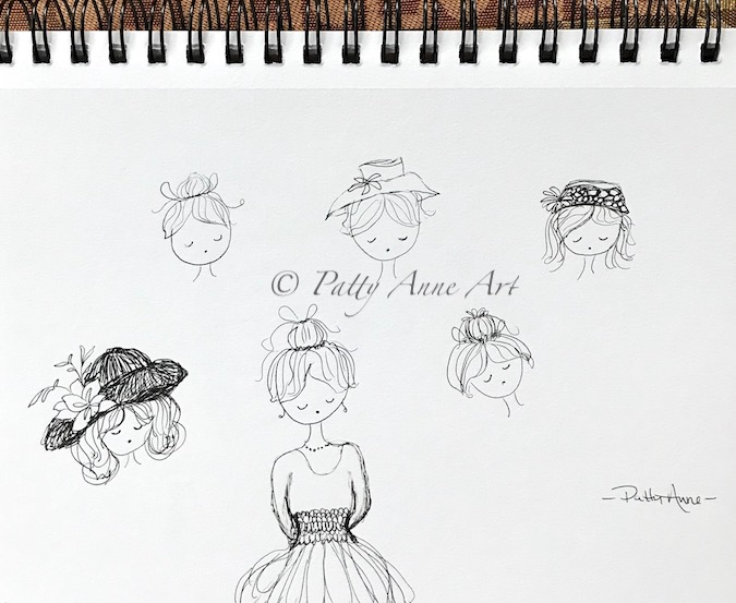 ink sketching practice - faces and hats