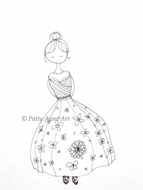 sweet girl wearing a fancy doodle dress
