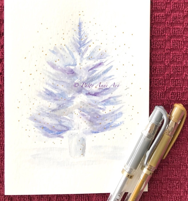 Sparkle Christmas tree watercolor