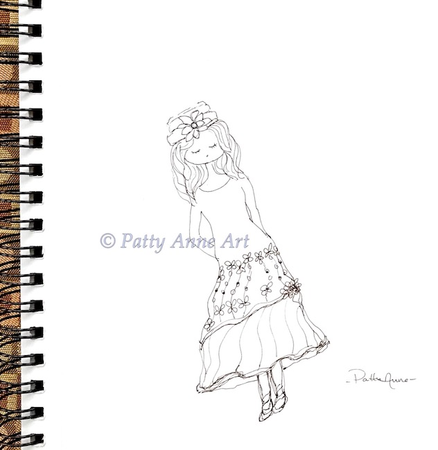 sweet girl wearing hat sketch