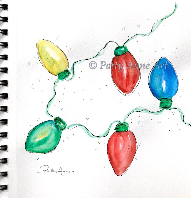 Holiday lights watercolor and ink