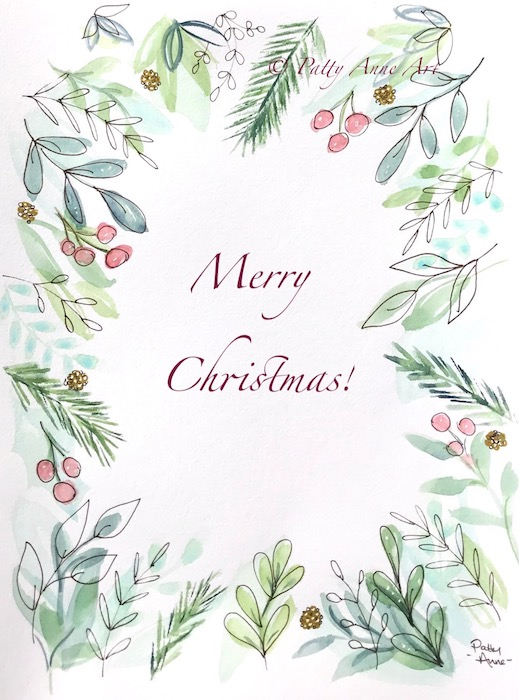 Holiday Botanical Watercolor Card