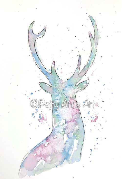 Buck silhouette watercolor