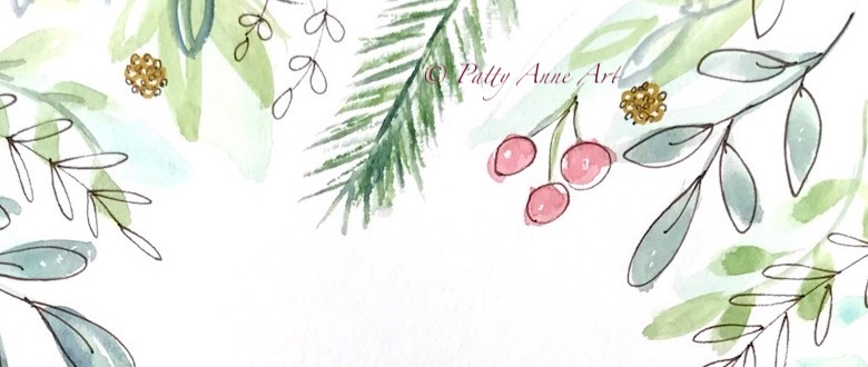 Holiday botanical painting