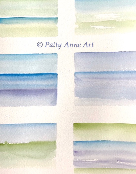 watercolor landscape squares