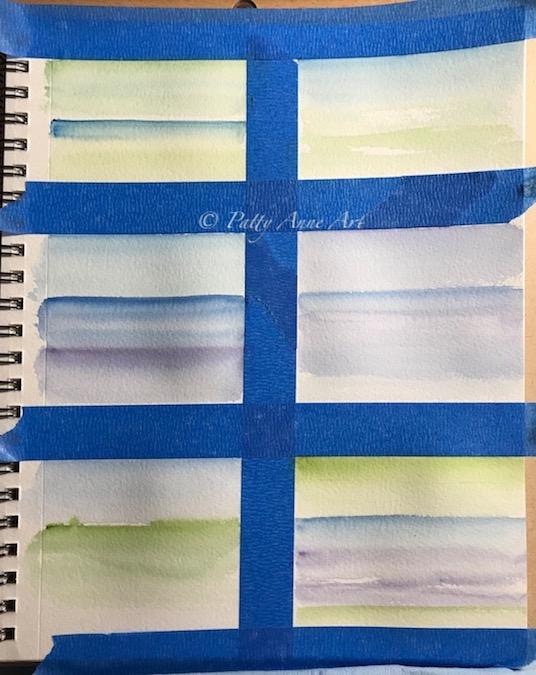 watercolor landscapes in progress