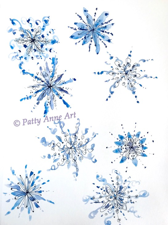 snowflake doodles watercolor and ink