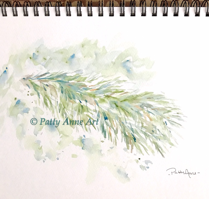 pine branch watercolor painting