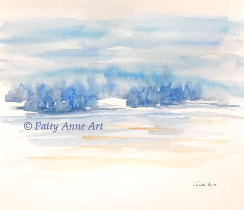 Blue landscape watercolor