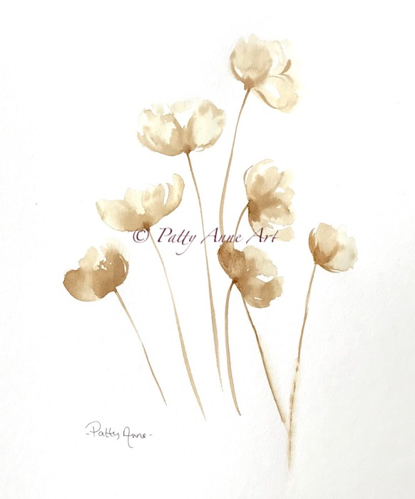 Poppies - coffee painting