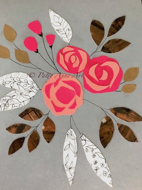 Collage floral glued down