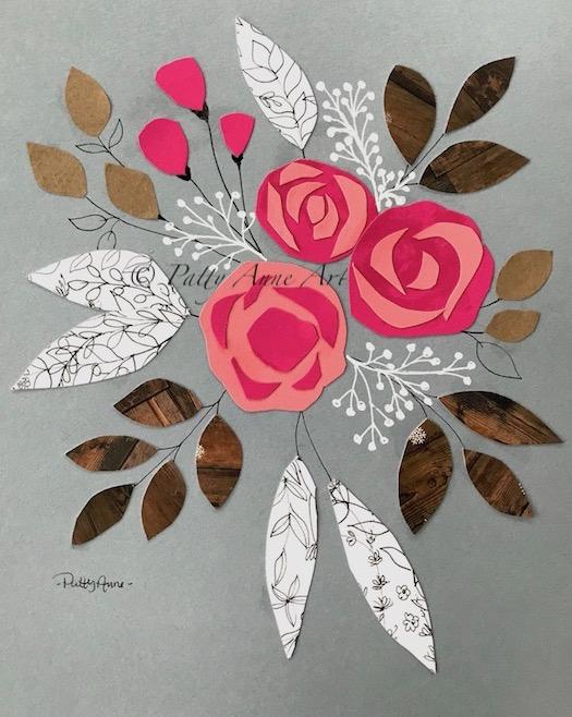 Collage floral art