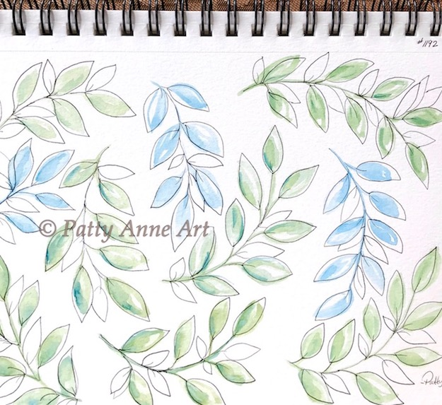 leaves - watercolor and ink pattern