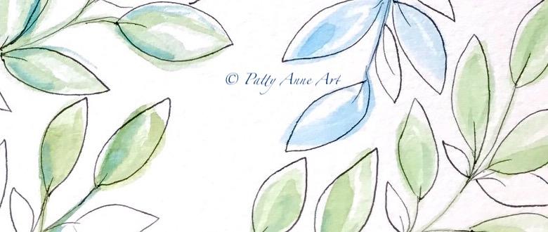 Leaves in watercolor andink