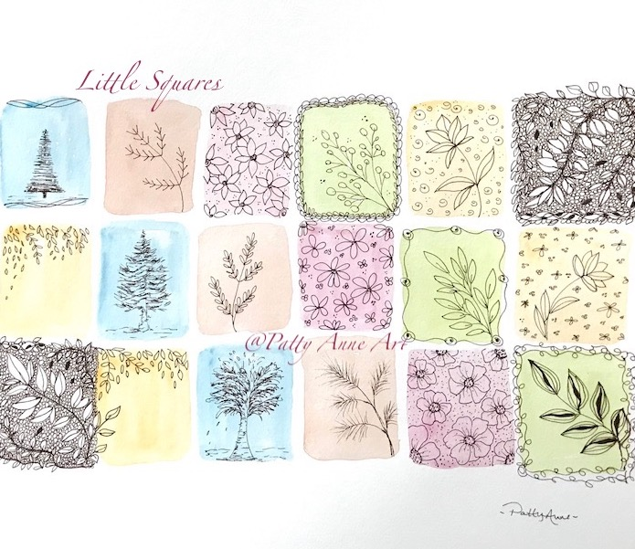 little squares nature - watercolor and ink