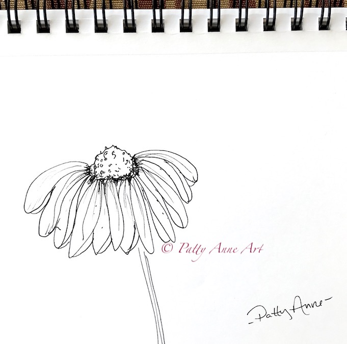 simple flower - ink sketch